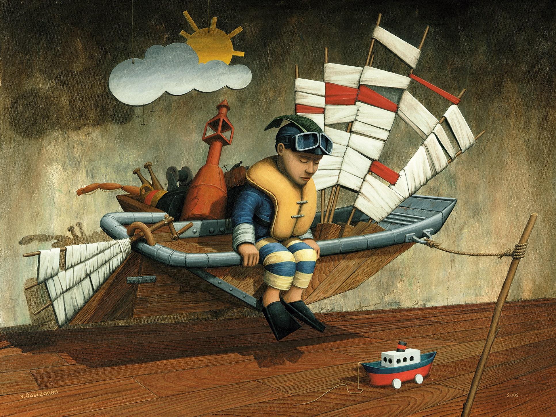 Bevoorrading van het moederschip - schilderij Peter van Oostzanen